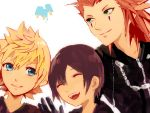 1girl axel_(kingdom_hearts) blonde_hair blue_eyes closed_mouth commentary_request food gloves ice_cream kingdom_hearts kingdom_hearts_358/2_days long_hair multiple_boys open_mouth organization_xiii ramochi_(auti) roxas short_hair xion_(kingdom_hearts)