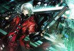 1boy belt belt_buckle blue_eyes buckle chains chandelier coat dante_(devil_may_cry) devil_may_cry devil_may_cry_1 gloves gun holding holding_weapon maeshima_shigeki over_shoulder portal_(object) red_coat short_hair shotgun smile solo sword sword_over_shoulder vest weapon weapon_over_shoulder white_hair
