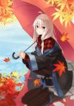 1girl ahoge autumn_leaves azuuru bangs black_coat black_footwear black_legwear blurry_foreground closed_mouth coat collared_shirt commentary_request day elaina_(majo_no_tabitabi) hair_between_eyes hair_ornament high_heels highres holding holding_umbrella leaf long_hair long_sleeves looking_at_viewer majo_no_tabitabi maple_leaf off_shoulder outdoors pantyhose pavement plaid plaid_shirt red_shirt reflection shirt sidelocks smile solo squatting umbrella violet_eyes water white_hair wide_sleeves