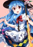 1girl :d black_hat blue_hair bow bowtie center_frills eyebrows_visible_through_hair hair_between_eyes hat highres hinanawi_tenshi long_hair looking_at_viewer open_mouth pink_background puffy_short_sleeves puffy_sleeves rainbow_gradient red_neckwear ruu_(tksymkw) short_sleeves simple_background smile solo sword_of_hisou touhou