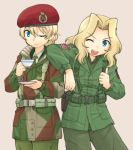 2girls ;d american_flag bangs beige_background belt beret british_army brown_shirt camouflage_background closed_mouth collared_shirt commentary_request cup darjeeling dress_shirt emblem eyebrows_visible_through_hair girls_und_panzer green_jacket green_neckwear green_pants green_shirt harness hat holding holding_cup holding_saucer jacket kay_(girls_und_panzer) long_hair looking_at_viewer military military_uniform multiple_girls necktie one_eye_closed open_mouth pants red_hat saucer shirt short_hair simple_background smile standing teacup thumbs_up uniform uona_telepin us_army utility_belt wing_collar