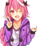 1boy ;d astolfo_(fate) bangs braided_ponytail collarbone cross cross_necklace eyebrows_visible_through_hair fate_(series) hair_ribbon jewelry long_hair long_sleeves looking_at_viewer necklace one_eye_closed open_mouth pink_eyes pink_hair ponytail purple_hoodie ribbon shirt smile solo standing striped striped_shirt tomydayo1031 tongue v white_background white_hair