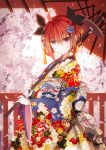 1girl ahoge bangs black_ribbon braid cherry_blossoms commentary_request date_a_live eyebrows_visible_through_hair floral_print flower hair_between_eyes hair_ribbon highres holding holding_umbrella itsuka_kotori japanese_clothes kimono long_sleeves looking_at_viewer obi oriental_umbrella petals pink_flower print_kimono red_eyes red_umbrella redhead ribbon sash senya_fuurin sidelocks solo umbrella wide_sleeves yagasuri