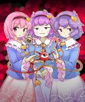 3girls :3 black_hairband blue_shirt blush cowboy_shot frilled_sleeves frills hairband hand_holding hand_up heart highres itatatata komeiji_satori long_sleeves looking_at_viewer multiple_girls multiple_persona pink_eyes pink_hair pink_skirt purple_hair purple_skirt red_background shirt short_hair skirt smile smug stained_glass touhou violet_eyes wide_sleeves