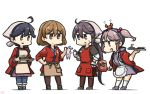 4girls :d ahoge akebono_(kantai_collection) alternate_costume animal black_hair brown_eyes brown_legwear chopsticks crab gloves hair_between_eyes hair_bobbles hair_ornament hairclip hamu_koutarou happi highres holding holding_chopsticks holding_tray japanese_clothes kantai_collection kneehighs light_brown_hair long_hair long_sleeves multiple_girls oboro_(kantai_collection) open_mouth pantyhose pink_eyes pink_hair purple_hair rabbit sazanami_(kantai_collection) short_hair short_sleeves side_ponytail simple_background smile standing tray twintails ushio_(kantai_collection) violet_eyes white_background white_gloves white_legwear
