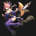 1girl animal_ear_fluff animal_ears bare_shoulders black_background blue_legwear bow breasts cleavage detached_sleeves fang fate/grand_order fate_(series) fox_ears fox_girl fox_tail full_body hair_bow hair_ribbon japanese_clothes large_breasts looking_at_viewer mirror open_mouth pink_hair ribbon simple_background solo suiten_nikkou_amaterasu_yanoshisu_ishi tail tamamo_(fate)_(all) tamamo_no_mae_(fate) yashiro_(silver_will) yellow_eyes
