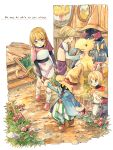 black_mage blonde_hair commentary_request deboo final_fantasy final_fantasy_ix gloves hat mikoto_(ff9) multiple_boys multiple_girls short_hair tail traditional_media vivi_ornitier watercolor_(medium)