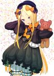 1girl :d abigail_williams_(fate/grand_order) bangs black_bow black_dress black_hat blonde_hair bloomers blue_eyes bow bug butterfly commentary_request confetti cowboy_shot daitai_konna_kanji dress eyes_visible_through_hair fate/grand_order fate_(series) forehead hair_bow hands_up hat head_tilt highres insect long_hair long_sleeves object_hug open_mouth orange_bow parted_bangs polka_dot polka_dot_bow simple_background sleeves_past_fingers sleeves_past_wrists smile solo standing stuffed_animal stuffed_toy teddy_bear underwear upper_teeth v-shaped_eyebrows very_long_hair white_background white_bloomers