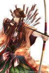 >:  arrow blue_eyes bow_(weapon) brown_gloves brown_hair drawing_bow gloves green_hakama hakama headband japanese_clothes jewelry long_hair necklace official_art quiver sengoku_hanafuda_kassen standing weapon white_background wide_sleeves