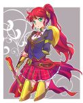 1girl blazer blouse forehead_protector greaves green_eyes highres iesupa jacket leg_armor long_hair neck_ribbon plaid plaid_skirt ponytail pyrrha_nikos redhead ribbon rwby school_uniform skirt solo sword thigh-highs vambraces weapon white_blouse zettai_ryouiki