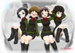 4girls ;d absurdres alina_(girls_und_panzer) arm_around_shoulder bangs black_footwear black_hat black_skirt black_vest boots chestnut_mouth closed_eyes closed_mouth commentary_request cyrillic daxz240r emblem extra girls_und_panzer glasses green_jacket ground_vehicle hat highres jacket knee_boots kv-2 long_sleeves looking_at_viewer military military_uniform military_vehicle miniskirt motor_vehicle multiple_girls nina_(girls_und_panzer) one_eye_closed open_mouth pleated_skirt pravda_military_uniform red_shirt round_eyewear russian salute shadow shirt short_hair sitting skirt smile tank tank_helmet turtleneck two-finger_salute uniform vest