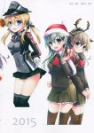3girls absurdres anchor_hair_ornament animal_ears aqua_eyes arms_behind_back bankoku_ayuya black_ribbon black_skirt blonde_hair blush bound bound_arms box buttons deer_ears doughnut food gift gift_box gloves hair_ornament hat highres holding iron_cross kantai_collection kumano_(kantai_collection) looking_at_viewer low_twintails microskirt military military_hat military_uniform multiple_girls open_mouth peaked_cap pleated_skirt prinz_eugen_(kantai_collection) ribbon santa_hat skirt smile suzuya_(kantai_collection) thigh-highs twintails uniform white_gloves zettai_ryouiki