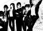 6+girls alpha.e aragaki_nagisa arms_behind_head ball black_hair business_suit character_request chikage_yamoto cigarette closed_mouth collarbone connie_christensen crossed_arms crossed_fingers formal glasses hair_between_eyes hand_on_neck hand_to_own_mouth hanebado! hanesaki_ayano hanesaki_uchika highres jacket japanese_clothes kimono leaning_on_object long_hair looking_at_viewer monochrome multiple_girls necktie pants shirt shiwahime_yuika short_hair sidelocks sitting standing suit sword tennis_ball weapon