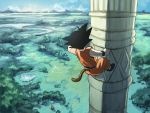 1boy black_hair blue_sky climbing day dougi dragon_ball dragon_ball_(classic) facing_away forest from_above full_body korin_tower landscape male_focus mountain nature outdoors satou_momonnyo short_hair sky son_gokuu spiky_hair tail tower tree wristband