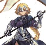 1girl armor armored_dress banner black_capelet blonde_hair braid breasts capelet chains closed_mouth dress eyebrows_visible_through_hair fate/apocrypha fate_(series) flag gauntlets headpiece holding jeanne_d'arc_(fate) jeanne_d'arc_(fate)_(all) long_hair medium_breasts ohil_(ohil822) purple_dress single_braid solo sword very_long_hair violet_eyes weapon