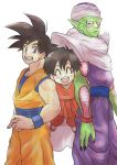1girl 2boys :d ^_^ black_hair blush cape closed_eyes closed_eyes dougi dragon_ball dragonball_z eyebrows_visible_through_hair fingernails floating full_body grandfather_and_granddaughter happy locked_arms looking_at_another looking_up multiple_boys nervous open_mouth pan_(dragon_ball) piccolo pointy_ears red_eyes short_hair simple_background smile son_gokuu spiky_hair standing sweatdrop teeth turban upper_body white_background wristband