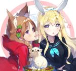 2girls :o animal animal_ear_fluff animal_ears bangs black_sailor_collar black_serafuku black_shirt black_skirt blonde_hair blue_neckwear blush braid brown_eyes chihuahua commentary_request dated dog eyebrows_visible_through_hair fang flower food food_in_mouth fruit hair_between_eyes hood hood_down hooded_jacket jacket light_brown_hair long_hair long_sleeves looking_at_viewer mouth_hold multiple_girls neckerchief open_mouth original parted_lips pocky pocky_day rabbit_ears red_jacket sailor_collar sanbasou school_uniform serafuku shirt side_braid signature skirt star strawberry twin_braids very_long_hair violet_eyes white_flower