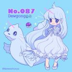 1girl aqua_background artist_name bangs blush character_name chibi collarbone creatures_(company) dewgong dress eyes_visible_through_hair fangs full_body game_freak gen_1_pokemon highres lace long_hair looking_at_viewer mameeekueya moemon nintendo personification poke_ball poke_ball_(generic) pokemon pokemon_(creature) pokemon_number shoes simple_background sleeveless sleeveless_dress smile standing twitter_username very_long_hair water_drop white_dress white_footwear white_hair