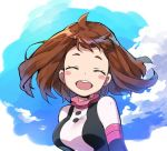 1girl :d blush_stickers bodysuit boku_no_hero_academia breasts brown_hair closed_eyes jinno_(megacake) large_breasts open_mouth short_eyebrows short_hair smile solo upper_body uraraka_ochako