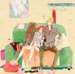 ! 1boy 1girl alternate_costume animal_slippers bare_legs blonde_hair closed_eyes code_geass food full_body gino_weinberg ilohasvio indoors kallen_stadtfeld leaning_on_person messy_hair open_mouth popcorn redhead short_hair sitting sleeping sleeping_on_person sleeping_upright slippers spoken_exclamation_mark surprised