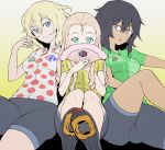 3girls :o andou_(girls_und_panzer) bangs bc_freedom_(emblem) bike_jersey bike_shorts black_eyes black_footwear black_hair black_shorts blonde_hair blue_eyes commentary_request covering_mouth dark_skin drill_hair emblem eyebrows_visible_through_hair fan folding_fan foreshortening girls_und_panzer green_eyes green_shirt head_tilt highres long_hair looking_at_viewer marie_(girls_und_panzer) medium_hair messy_hair multiple_girls onsen_tamago_(hs_egg) open_mouth oshida_(girls_und_panzer) polka_dot red_shirt shirt shoes short_sleeves shorts sitting tour_de_france yellow_shirt