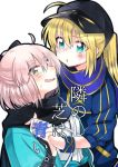 2girls ahoge artoria_pendragon_(all) baseball_cap black_bow black_hat black_scarf blonde_hair blue_scarf blush bow commentary_request cover cover_page fate/grand_order fate_(series) hair_bow hand_holding haori hat interlocked_fingers japanese_clothes koha-ace looking_at_another mikaze multiple_girls mysterious_heroine_x okita_souji_(fate) okita_souji_(fate)_(all) open_mouth scarf sweat translation_request white_background yuri