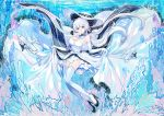 absurdres aircraft airplane azur_lane blue_eyes dress elbow_gloves floating_clothes floating_hair garter_straps gloves gradient_hair highres illustrious_(azur_lane) large_hat multicolored_hair over-kneehighs smile submerged thigh-highs wallpaper white_collar white_dress white_hair wu_se_bu_hui_(940164887)