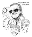 5boys commentary creator_connection cyclops_(x-men) greyscale hair_slicked_back hulk iron_man iron_man_(comics) mask memorial monochrome multiple_boys parallax05 smile spider-man spider-man_(series) stan_lee sunglasses upper_body x-men
