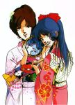 2girls 80s blue_eyes blue_hair brown_hair floral_print flower hair_flower hair_ornament hand_to_own_mouth hayase_misa highres holding japanese_clothes kimono long_hair long_sleeves looking_at_viewer lynn_minmay macross mikimoto_haruhiko multiple_girls official_art oldschool ponytail scan simple_background updo white_background