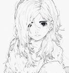 1girl closed_mouth daruma_owl greyscale hair_over_one_eye highres long_hair looking_at_viewer monochrome original simple_background solo white_background