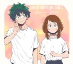 1boy 1girl blush_stickers boku_no_hero_academia brown_eyes brown_hair clenched_hand commentary_request dated freckles green_eyes green_hair head_tilt highres looking_at_viewer m_y_k_xxx messy_hair midoriya_izuku scar scratching_cheek shirt short_hair sidelocks t-shirt twitter_username uraraka_ochako wavy_mouth white_shirt