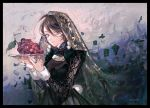 1girl black_hair blue_eyes food fruit grapes highres jewelry original plate ring ueno_zousui veil wallpaper