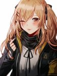 bangs black_ribbon blush breasts brown_eyes brown_hair closed_mouth girls_frontline hair_between_eyes hair_ornament hairclip hood hood_down hooded_jacket jacket long_hair looking_at_viewer open_clothes open_jacket ribbon scar scar_across_eye shirt sidelocks silence_girl simple_background smile twintails ump9_(girls_frontline) upper_body white_background white_shirt