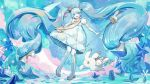 1girl absurdly_long_hair blue_eyes blue_hair boots bow crown_hair_ornament dress floating_hair hair_bow hair_ornament hatsune_miku highres long_hair rabbit snowflake_hair_ornament snowflakes staff star star_hair_ornament twintails very_long_hair vocaloid wallpaper white_dress white_legwear wu_se_bu_hui_(940164887) yuki_miku