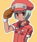1girl adjusting_clothes adjusting_hat breast_pocket brown_gloves cabbie_hat cosplay dark_skin gloves hat muu_(mumumer) pocket red_eyes rockman rockman_dash roll_caskett roll_caskett_(cosplay) sera_(rockman_dash) short_hair simple_background solo upper_body yellow_background zipper zipper_pull_tab