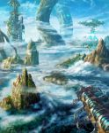 above_clouds aircraft airship artist_name blue_sky building clouds cloudy_sky commentary_request day fantasy forest giant_tree hasumi_yuuki highres mountain nature no_humans original outdoors river roots scenery science_fiction signature sky