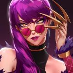 1girl bangs bare_shoulders braid claws earrings evelynn eyelashes face fur_trim jewelry k/da_(league_of_legends) k/da_evelynn league_of_legends lipstick long_hair looking_at_viewer makeup mascara non_(nonzile) nose purple_hair purple_lipstick round_eyewear side_braid smile solo sunglasses swept_bangs yellow_eyes