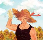 1boy :d ^_^ arm_at_side arm_up bare_arms bare_shoulders black_hair black_shirt blue_sky closed_eyes closed_eyes clouds cloudy_sky day dqn_(rattamgmg) dragon_ball dragonball_z eyebrows_visible_through_hair flower gloves hand_up happy hat male_focus open_mouth outdoors red_ribbon ribbon shirt short_hair single_glove sky sleeveless sleeveless_shirt smile son_gokuu spiky_hair standing straw_hat sunflower upper_body waving white_gloves yellow_flower