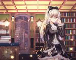 1girl adjusting_eyewear ascot bangs black_bow black_shirt black_skirt blurry book book_stack bookshelf bow buttons clock closed_mouth collared_shirt cup6542 depth_of_field expressionless eyebrows_visible_through_hair glasses hair_bow hand_up headdress highres holding holding_book indoors lamp layered_skirt library light_particles long_hair long_sleeves looking_to_the_side miniskirt mirror original partially_unbuttoned round_eyewear shirt silver_hair skirt solo spiral_staircase stairs standing table undershirt white_neckwear white_shirt wide_sleeves yellow_eyes