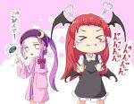 >_< 2girls =3 alternate_hairstyle bangs black_dress black_wings blunt_bangs bow capelet chibi collared_shirt commentary_request crescent crescent_hair_ornament demon_wings dress forehead hair_bow hair_ornament head_wings headband index_finger_raised koakuma long_hair long_sleeves multiple_girls mumyuu patchouli_knowledge ponytail purple_capelet purple_dress purple_hair purple_headband red_bow redhead shirt short_dress striped striped_dress sweatdrop tears touhou white_shirt wing_collar wings