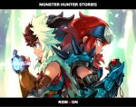 2boys armor brown_eyes brown_hair cheval fingerless_gloves fuse_ryuuta gloves hairband jewelry leather leather_gloves monster_hunter monster_hunter_stories multiple_boys necklace redhead ryuuto_(monster_hunter_stories) short_hair spikes spiky_hair
