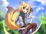>:o 1girl animal_ear_fluff animal_ears black_legwear blonde_hair blue_eyes blue_sky bow chaakusu commentary_request fighting_stance fox_ears fox_tail hair_bow jacket light_rays long_hair long_sleeves miniskirt original pantyhose pleated_skirt skirt sky tail tree twintails