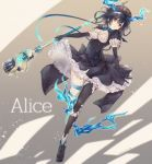 1girl alice_(sinoalice) black_dress black_hair black_legwear breasts character_name cleavage dress elbow_gloves full_body gloves holding holding_staff looking_at_viewer medium_breasts puffy_short_sleeves puffy_sleeves red_eyes short_hair short_sleeves single_thighhigh sinoalice solo soramichi_megumu staff thigh-highs