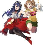 2girls absurdres alternate_costume bare_shoulders black_legwear blue_eyes blue_hair bracelet brown_hair commission cynthia_(fire_emblem) dress ebinku fire_emblem fire_emblem:_kakusei green_shorts hair_ornament hairclip high_heels highres jewelry long_hair lucina multiple_girls nintendo one_eye_closed open_mouth short_sleeves shorts simple_background sleeveless sleeveless_dress tiara twintails white_background