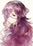 1girl closed_mouth commentary english_commentary eyepatch flower flower_eyepatch hair_ornament head_only jewelry light_smile long_hair looking_at_viewer original purple_flower purple_hair red_eyes ribbon simple_background smile solo twitter_username veil white_background xin_(24914) yellow_ribbon