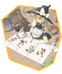 1girl apron bangs basket black_cat black_dress black_hat blonde_hair book bow box braid broom cardboard_box cat clipboard commentary_request cutting_board dress frilled_apron frills from_above full_body hair_between_eyes hair_bow hat hat_bow highres holding inuno_rakugaki kirisame_marisa kneehighs knife long_hair mushroom no_shoes plant puffy_short_sleeves puffy_sleeves shadow shirt short_sleeves single_braid sitting solo touhou waist_apron white_apron white_bow white_legwear white_shirt wooden_floor yellow_eyes