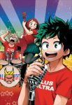 1girl 3boys all_might artist_request bakugou_katsuki band blonde_hair boku_no_hero_academia brown_eyes brown_hair drum drum_set drumsticks electric_guitar green_eyes green_hair guitar highres instrument jumping leggings looking_at_viewer microphone midoriya_izuku multiple_boys music open_mouth shirt shoes short_hair skirt smile sneakers source_request star t-shirt uraraka_ochako