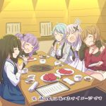5girls :d =3 ^_^ aqua_hair arm_around_shoulder ayasaka bang_dream! bangs belt black_hair black_jacket black_shirt blue_dress blue_shirt bowl brown_hair butterfly_hair_ornament choker chopsticks closed_eyes closed_eyes commentary_request dress fang food grey_jacket grill grin hair_ornament half_updo hikawa_sayo holding holding_chopsticks holding_plate imai_lisa indoors jacket lavender_hair lavender_skirt long_hair long_sleeves meat minato_yukina multiple_girls open_mouth pinafore_dress plate purple_hair red_choker red_shirt restaurant roselia_(bang_dream!) shirokane_rinko shirt sidelocks sitting skirt smile table translation_request twintails udagawa_ako white_shirt white_skirt yakiniku