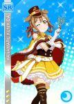 blush brown_eyes brown_hair cape character_name dress hat kunikida_hanamaru long_hair love_live!_school_idol_festival love_live!_sunshine!! smile wink