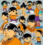 acid_(pixiv3855425) aqua_eyes beanie black_hat book calvin_&_hobbes character_name clenched_hands copyright_name crayon_shin-chan daniel_clowes_(style) dc_comics death_note ed_edd_n_eddy edd_(ed_edd_n_eddy) gen_3_pokemon hands_up hat heart holding holding_book mahou_shoujo_madoka_magica male_focus mike_mignola_(style) multiple_boys multiple_persona orange_shirt peanuts pokemon pokemon_(creature) powerpuff_girls ralts shirt shoes smile teen_titans walking